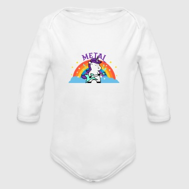 Iron Metal METAL RAINBOW BAND FUNNY UNICORN IRONIC - Organic Long Sleeve Baby Bodysuit