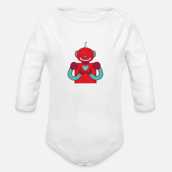 Love Baby Clothing - Robot & heart - Organic Long-Sleeved Baby Bodysuit white