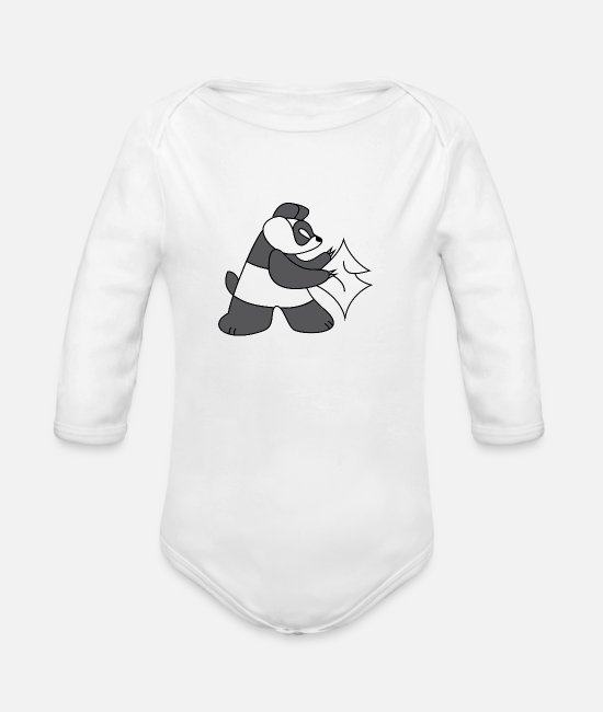 Resistance Baby One Pieces - Panda - Organic Long-Sleeved Baby Bodysuit white