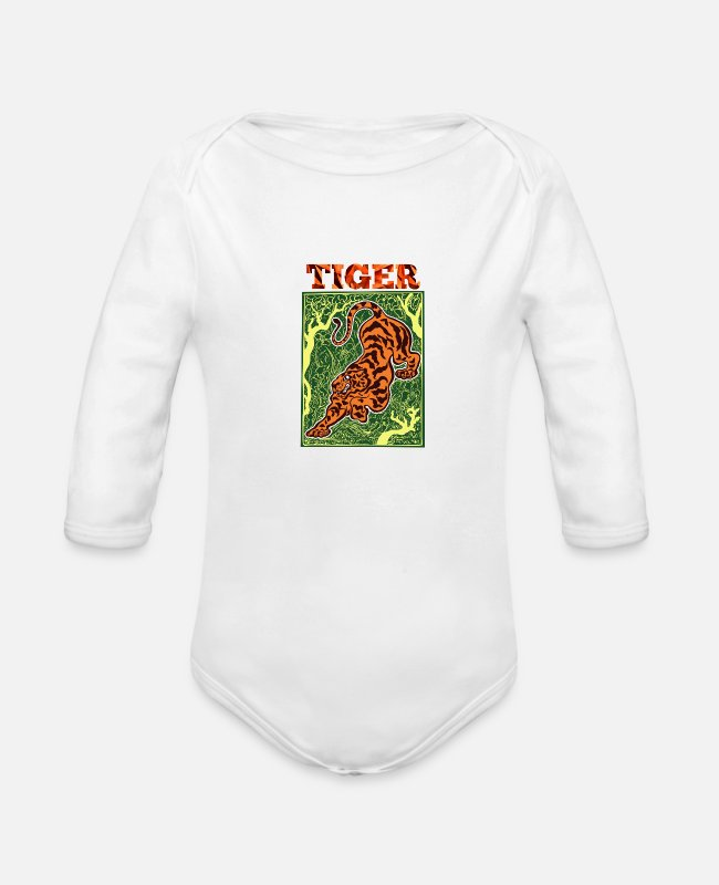 Jaws Baby One Pieces - Tiger - Organic Long-Sleeved Baby Bodysuit white