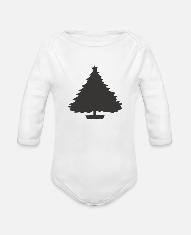 Hipster Baby One Pieces - Black Tree - Organic Long-Sleeved Baby Bodysuit white