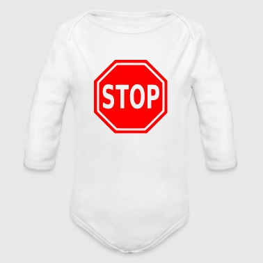 Stop Sign - Organic Long Sleeve Baby Bodysuit