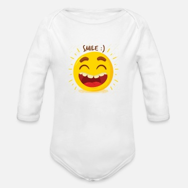 Laugh Laugh Laugh Happy - Organic Long-Sleeved Baby Bodysuit
