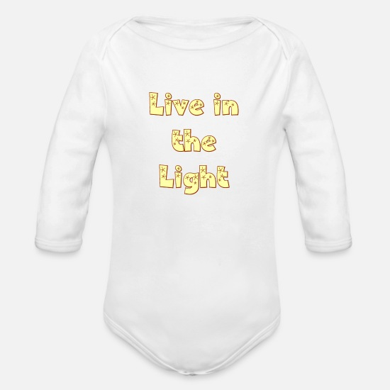 Christian Baby Clothing - Live in The Light. Be a Cool Christian. - Organic Long-Sleeved Baby Bodysuit white