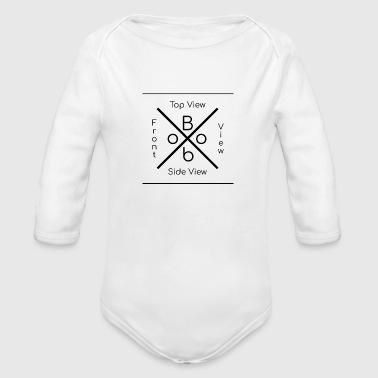 boob perfect word top view side view front view - Organic Long Sleeve Baby Bodysuit