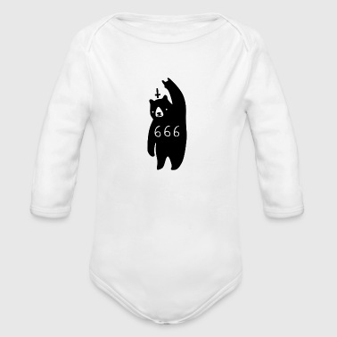 Black Bear Metal Bad Cartoon Art - Organic Long Sleeve Baby Bodysuit