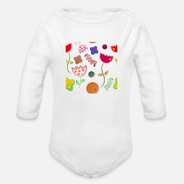flowers - Organic Long Sleeve Baby Bodysuit