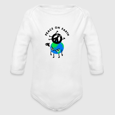 Peace On Earth Angry Earth Joke - Organic Long Sleeve Baby Bodysuit