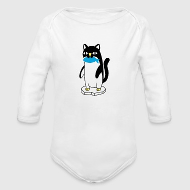 Penguin Cat Eat Fish Sketch Drawing - Organic Long Sleeve Baby Bodysuit
