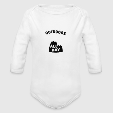 Outdoors All Day Mountain Happy Sunny - Organic Long Sleeve Baby Bodysuit