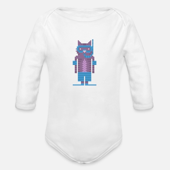 Art Baby Clothing - Snorkel Swimmer Cat Pixel Art - Organic Long-Sleeved Baby Bodysuit white