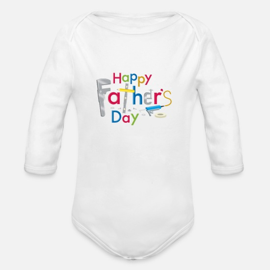 Day Baby Clothing - Happy Fathers Day - Organic Long-Sleeved Baby Bodysuit white