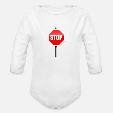 Stop Sign Stop Sign - Organic Long-Sleeved Baby Bodysuit