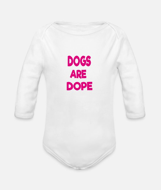 Paws Dogs Baby One Pieces - dogs are dope - Organic Long-Sleeved Baby Bodysuit white
