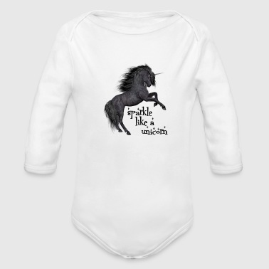 sparkle like a unicorn (black beauty) - Organic Long Sleeve Baby Bodysuit