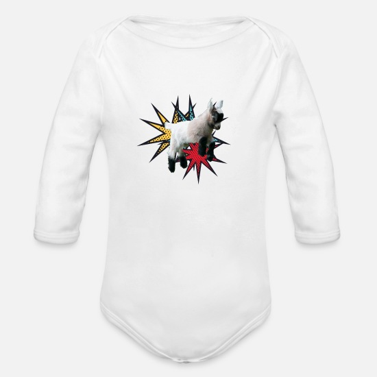 Baby Baby Clothing - Baby Goat - Organic Long-Sleeved Baby Bodysuit white