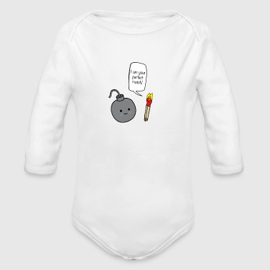 perfect match couple - Organic Long Sleeve Baby Bodysuit