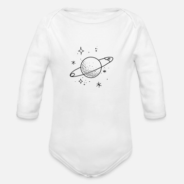Planet Planet Stars Universe - Organic Long-Sleeved Baby Bodysuit