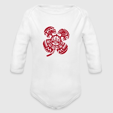 Maori Tiki Four leaf clover Tribal - Gift Idea - Organic Long Sleeve Baby Bodysuit
