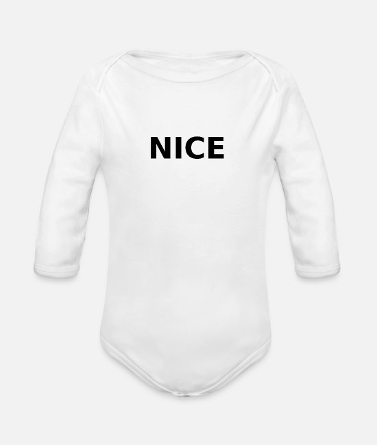 Nice Baby One Pieces - Nice - Organic Long-Sleeved Baby Bodysuit white