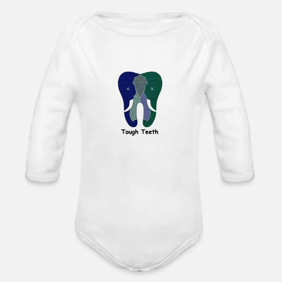 Strong Baby Clothing - Tough Teeth - Organic Long-Sleeved Baby Bodysuit white