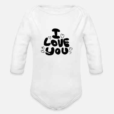 Love You Love You Love - Organic Long-Sleeved Baby Bodysuit