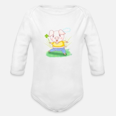 Four Leaf Clover A piggy with four-leaf clover - Organic Long-Sleeved Baby Bodysuit