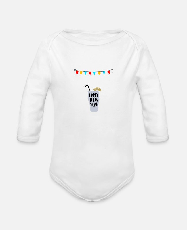 Happy Holidays Baby One Pieces - Happy New Year - Organic Long-Sleeved Baby Bodysuit white