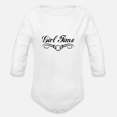 Girl time funny style - Organic Long-Sleeved Baby Bodysuit