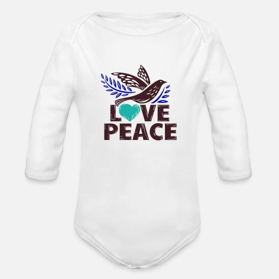 Love Baby Clothing - Dove of peace and love lettering - Organic Long-Sleeved Baby Bodysuit white