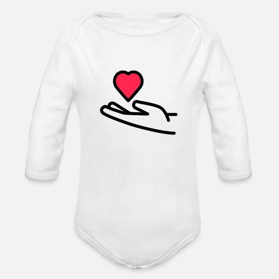 Heart Rate Baby Clothing - Receive heart - Organic Long-Sleeved Baby Bodysuit white
