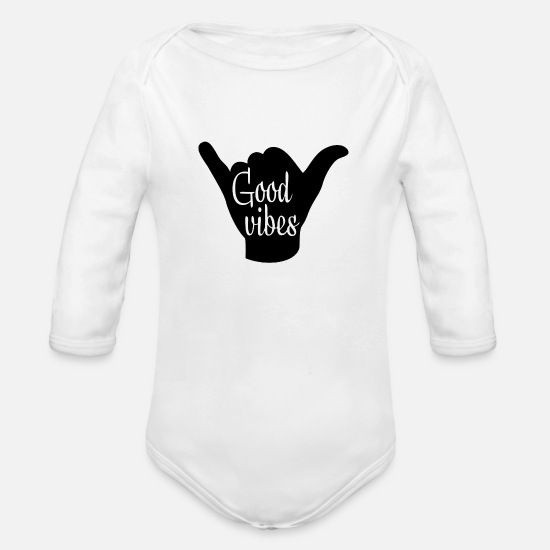 Good Night Baby Clothing - Good vibes - Organic Long-Sleeved Baby Bodysuit white