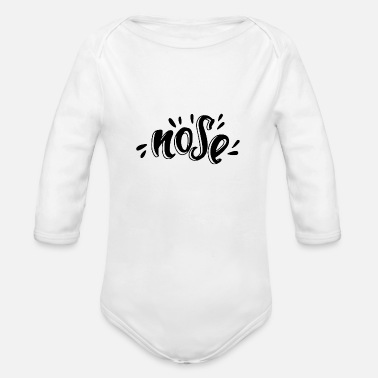 Nose Nose typography - Organic Long-Sleeved Baby Bodysuit
