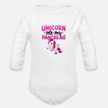 Support Unicorn ate my Pancreas I Kid Mom Diabetic gift - Organic Long-Sleeved Baby Bodysuit