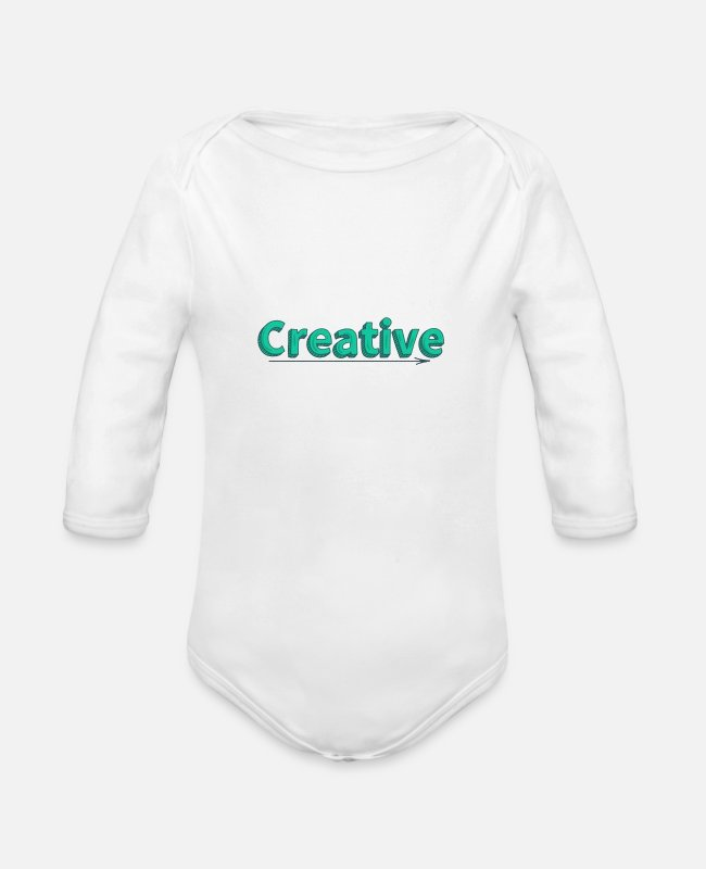 Creative Baby One Pieces - Lettering Creative - Organic Long-Sleeved Baby Bodysuit white