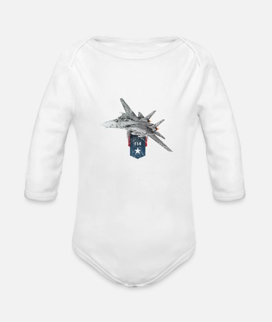 Fighter Baby One Pieces - F14 Tomcat Navy Aircraft - Organic Long-Sleeved Baby Bodysuit white