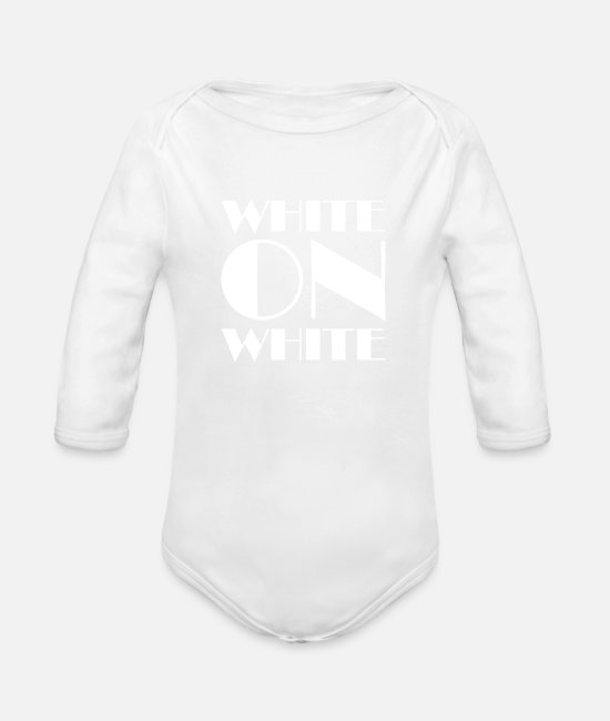 Design Baby One Pieces - White On White - Organic Long-Sleeved Baby Bodysuit white