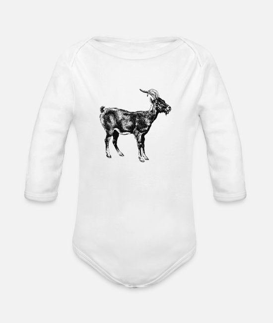 Schland Baby One Pieces - Goat - Organic Long-Sleeved Baby Bodysuit white