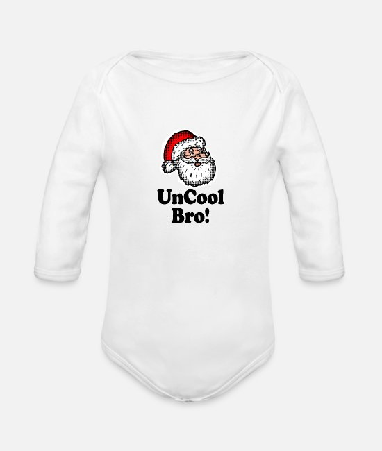 Drawing Baby One Pieces - Santa head Uncool Bro - Organic Long-Sleeved Baby Bodysuit white