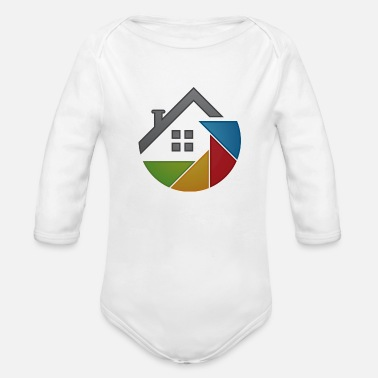Attractive Outline of a house - Organic Long-Sleeved Baby Bodysuit