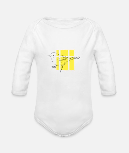 Minimum Baby One Pieces - Minimalist Bird - Organic Long-Sleeved Baby Bodysuit white