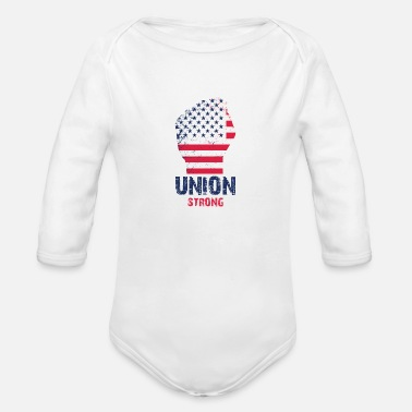 Union Strong Vintage USA Flag Proud Labor Day - Organic Long-Sleeved Baby Bodysuit