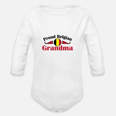 Original Proud Belgian Grandma birthplace gift home - Organic Long-Sleeved Baby Bodysuit