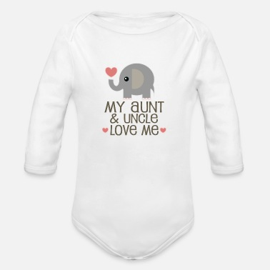 Uncle My Aunt and Uncle Love Me Elephant - Organic Long-Sleeved Baby Bodysuit