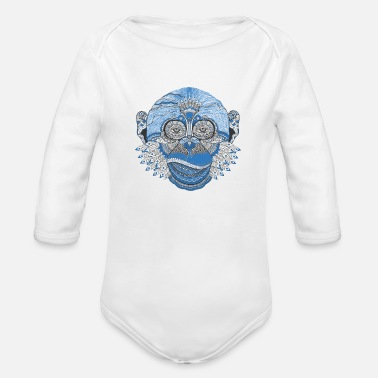 Hippy Cool Monkey - Organic Long-Sleeved Baby Bodysuit