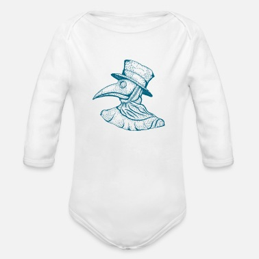 Birds Doctor mysterious doctor bird drawing painting sketch - Organic Long-Sleeved Baby Bodysuit