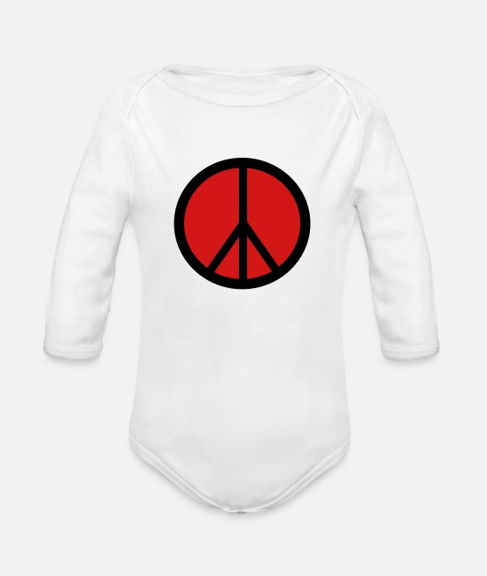 Hipster Baby One Pieces - peace - Organic Long-Sleeved Baby Bodysuit white