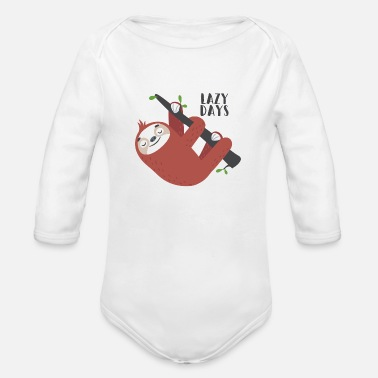 Lazy Day Sloth - Organic Long-Sleeved Baby Bodysuit