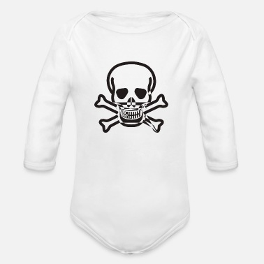 Skull And Crossbones Skull and Crossbones - Organic Long-Sleeved Baby Bodysuit