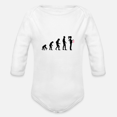 Pregnant Evolution pregnant girl - Organic Long-Sleeved Baby Bodysuit
